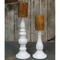 Classic White Metal Pillar Candle Holders,candle holder,Adley & Company Inc.