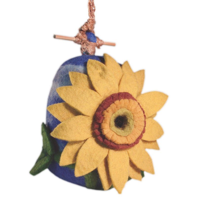 Fair Trade Felted Sunflower Birdhouse,birdhouse,Adley & Company Inc.