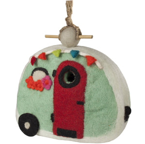 Fair Trade Retro Camper Felted Birdhouse,birdhouse,Adley & Company Inc.