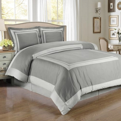 Soft Grey Cotton Duvet Cover Set, 300 Thread Count