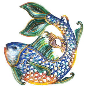 Fair Trade Hand Crafted Metal Fish Wall Art
