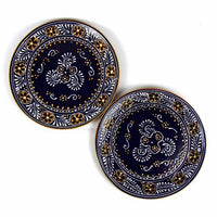 Fair Trade Mexican Blue Serving Plates, Set of 2