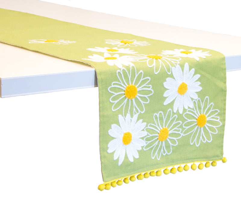 Lime Daisy Cotton Table Runner,table runner,Adley & Company