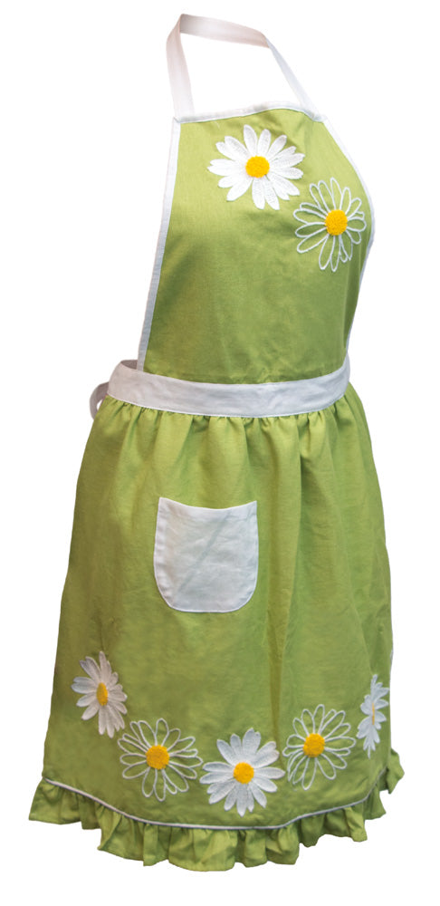 Lime Daisy Cotton Full Apron,apron,Adley & Company Inc.