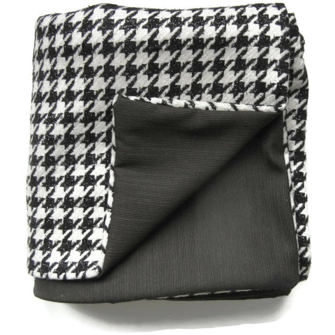 Black & White Houndstooth Wool Blanket Throw