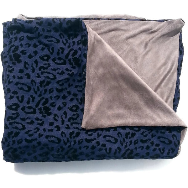 Navy Blue Flocked Velvet & Grey Faux Suede Blanket Throw - Adley & Company throw blanket, Adley & Company, Adley & Company
