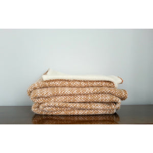 Orange & Cream Wool Throw Blanket,throw blanket,Adley & Company Inc.