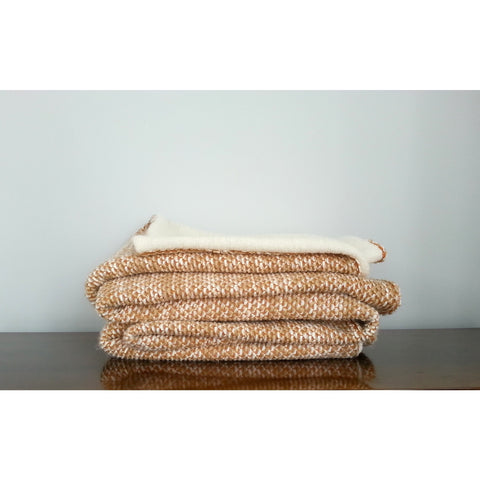 Orange & Cream Wool Throw Blanket