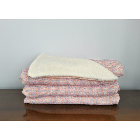 Pink, Lilac & Cream Wool Throw Blanket