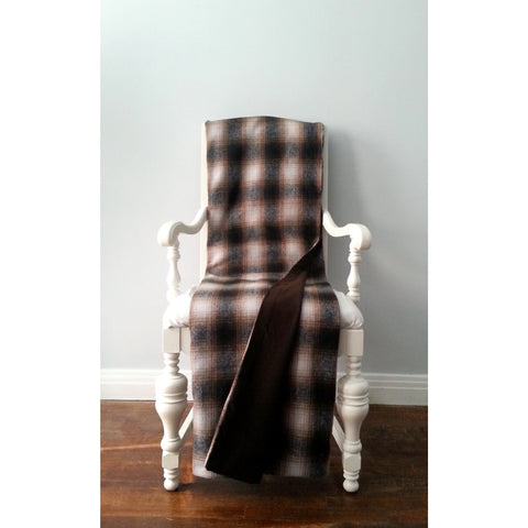 Vintage Dark Brown & Cream Plaid Wool Throw Blanket - Adley & Company throw blanket, Adley & Company, Adley & Company Inc.