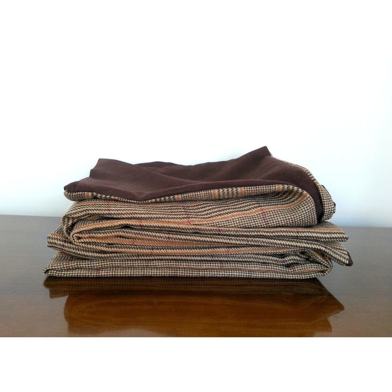 Traditional Brown Tweed Wool Throw Blanket,throw blanket,Adley & Company Inc.