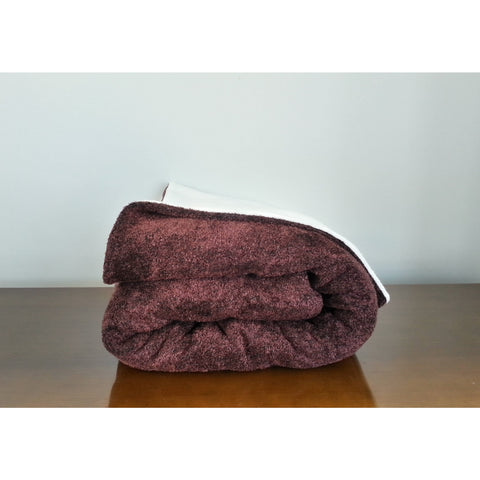 Burgundy Chenille & White Wool Blanket Throw