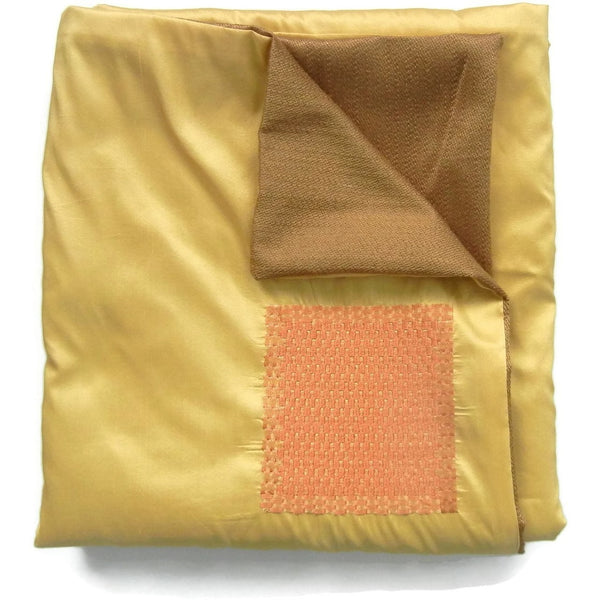 Yellow Silk & Jacquard with Orange Woven Squares Throw Blanket - Adley & Company throw blanket, Adley & Company, Adley & Company