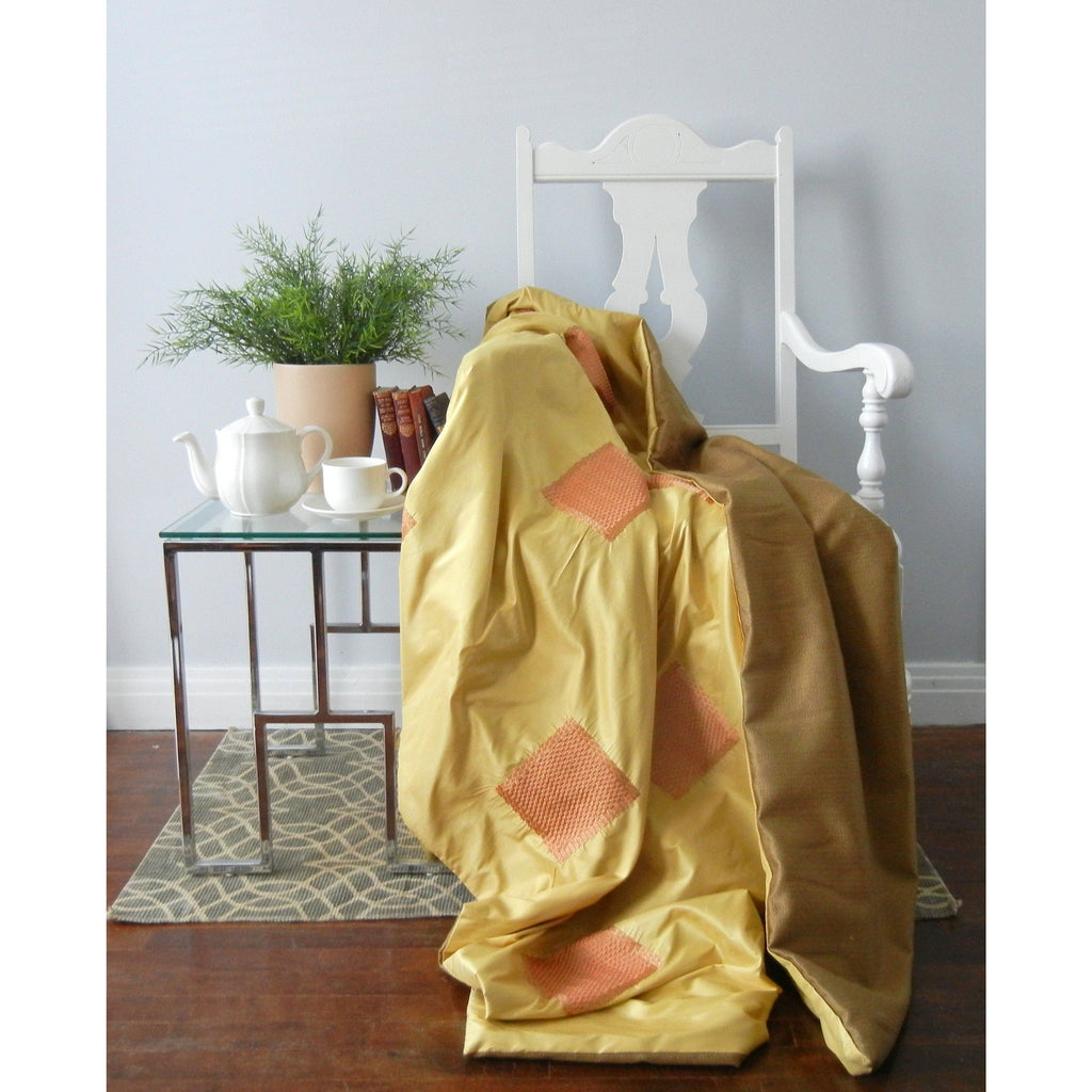 Yellow Silk Throw Blanket,throw blanket,Adley & Company Inc.