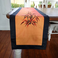 Black & Orange Silk Embroidered Table Runner,table runner,Adley & Company Inc.