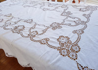 Vintage White Linen Hand Crocheted Table Cloth