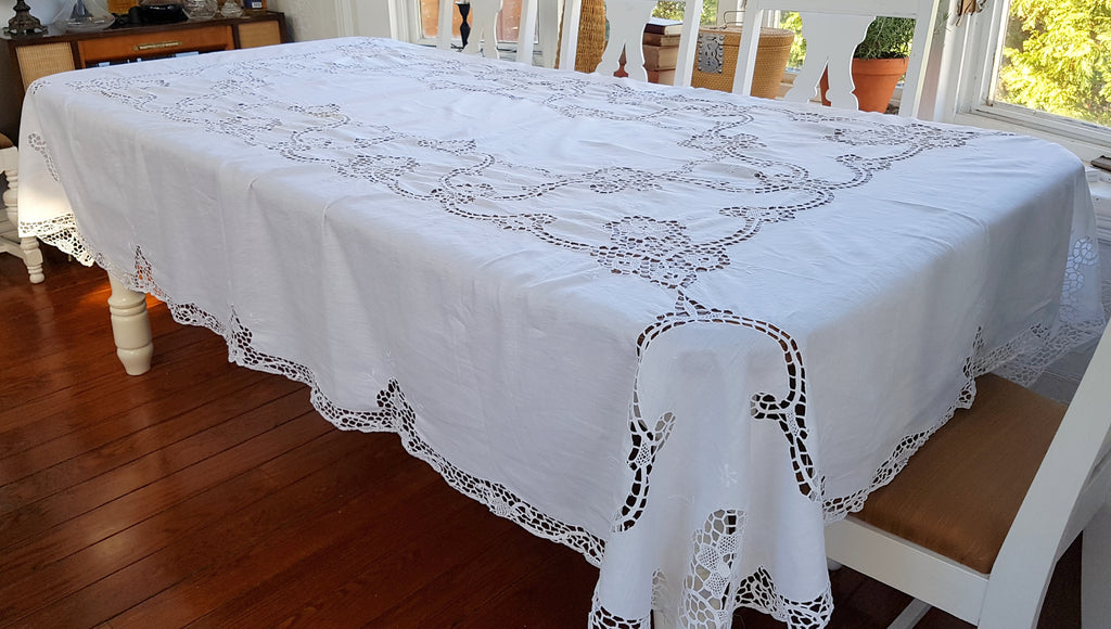 Vintage White Linen Hand Crocheted Table Cloth,cloth table napkins,Adley & Company Inc.