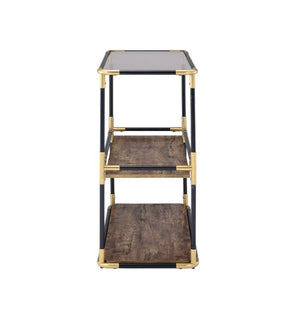 Black and Gold Console Shelving, Bar or Kitchen Cart,bar cart,Adley & Company Inc.