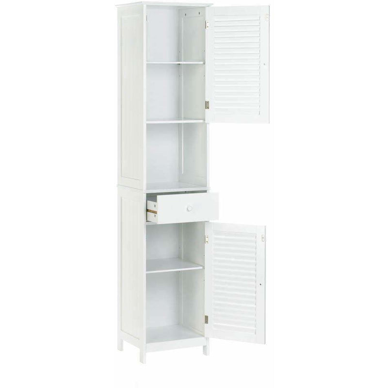 White Nantucket Tall Storage Cabinet,cabinet,Adley & Company Inc.