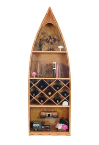 Hand Crafted Wooden Canoe Wine Storage Shelf,book shelf,Adley & Company