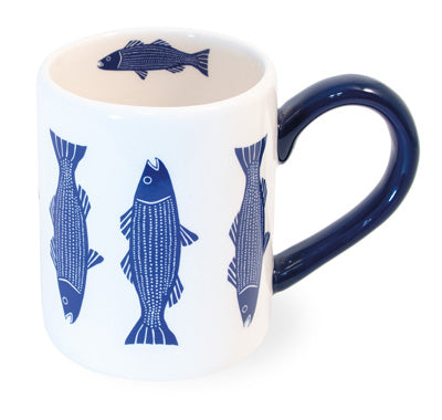 Blue and White Fish Mugs, Set of 6