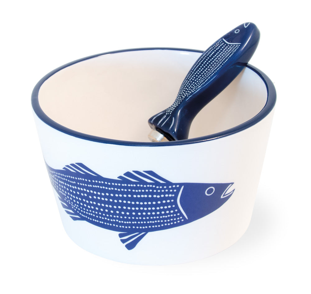 Blue Fish Ceramic Bowl and Spreader, Set of 4