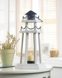 Lighthouse Wooden Candle Lantern,candle lantern,Adley & Company Inc.