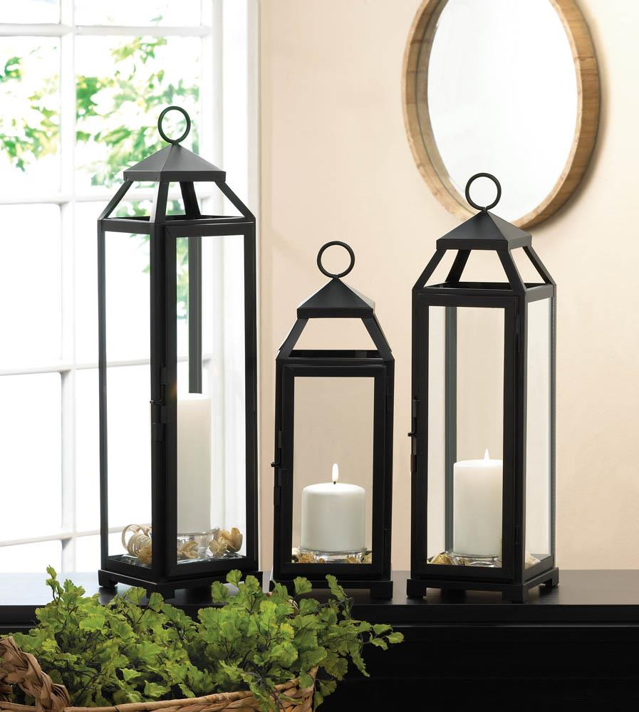 Modern Black Candle Lanterns,lantern,Adley & Company Inc.