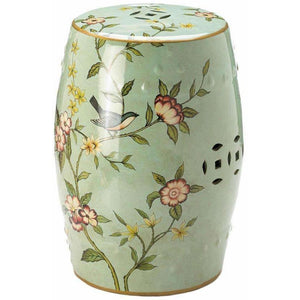 Green Floral Ceramic Barrel Seat,stool,Adley & Company Inc.