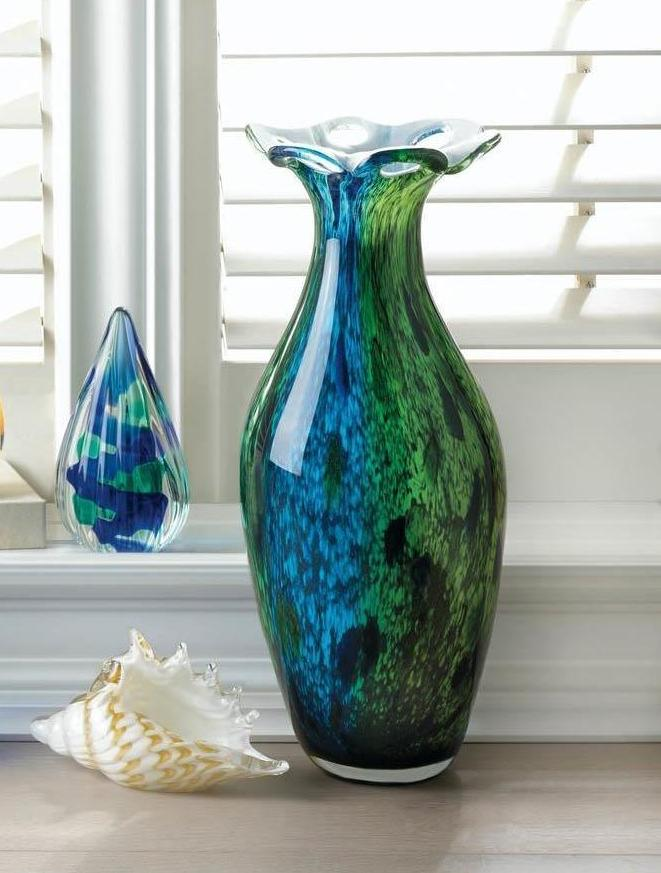 Glass Peacock Blue & Green Vase,Vase,Adley & Company Inc.