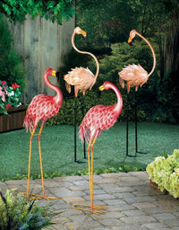 Retro Style Metal Pink Flamingo Garden Decor