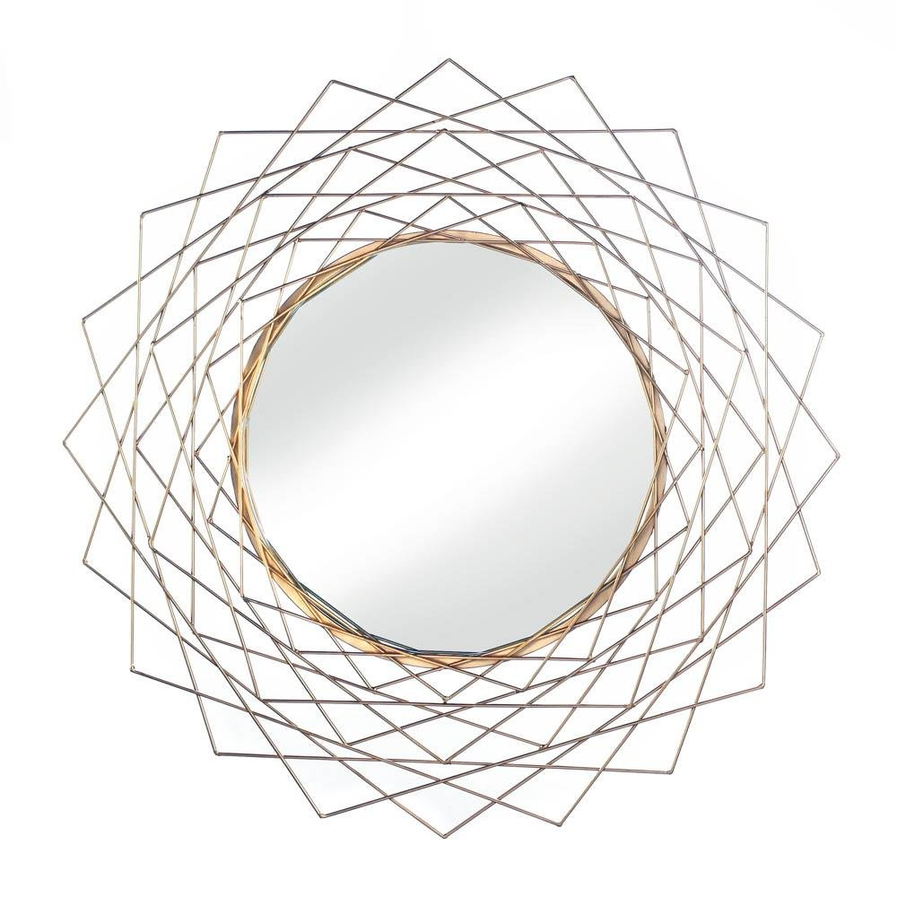 Golden Wire Framed Round Mirror