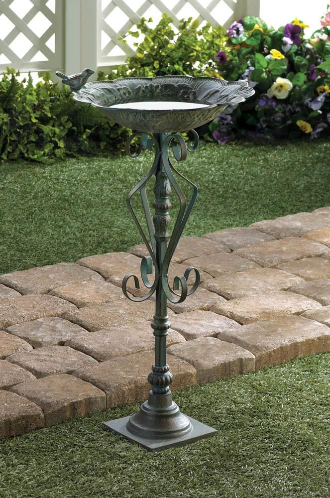 Green Cast Iron Bird Bath,bird bath,Adley & Company Inc.