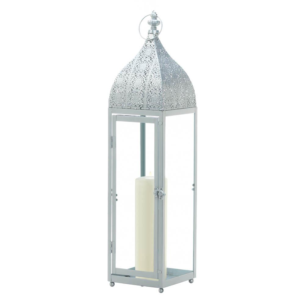Large Silver Moroccan Style Candle Lantern,candle lantern,Adley & Company Inc.