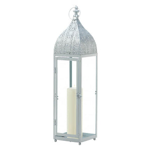 Large Silver Moroccan Style Candle Lantern