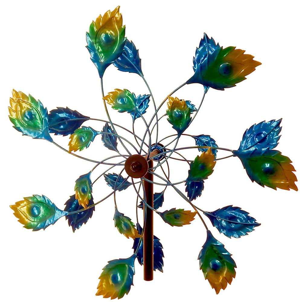 "Kinetic 75"" Tall Metal Flower Windmill Garden Stake"