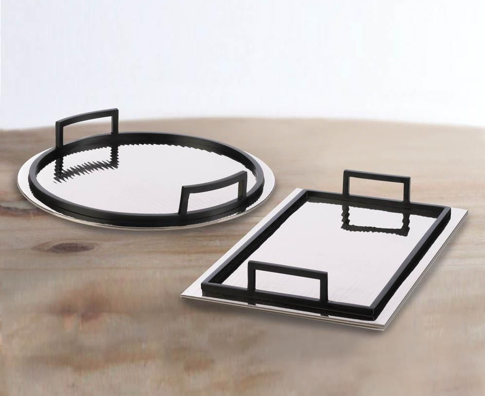 Mirrored Metal Decorative Trays