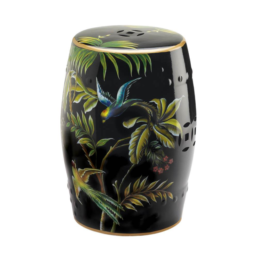 Tropical Birds Ceramic Barrel Seat,stool,Adley & Company Inc.