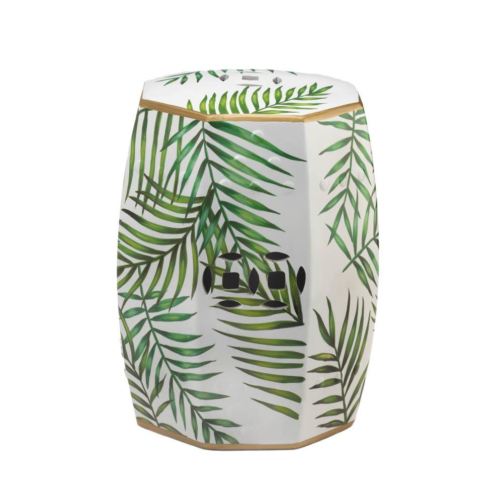 Tropical Island Palms Ceramic Barrel Seat,stool,Adley & Company Inc.