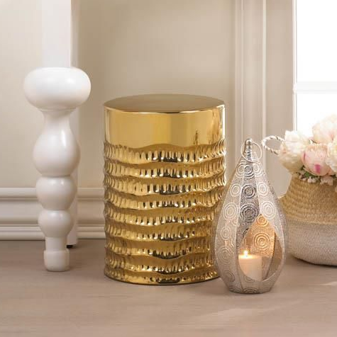 Gold Glam Barrel Stool Seat