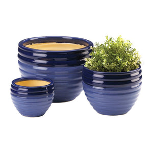 Cobalt Blue Ceramic Planters, Set of 3,planter,Adley & Company Inc.