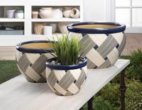 Trio of Blue Geometric Ceramic Planters,planters,Adley & Company Inc.