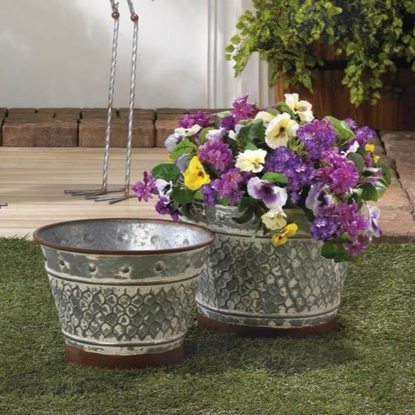 Galvanized Metal Planters, Set of 2,planter,Adley & Company Inc.