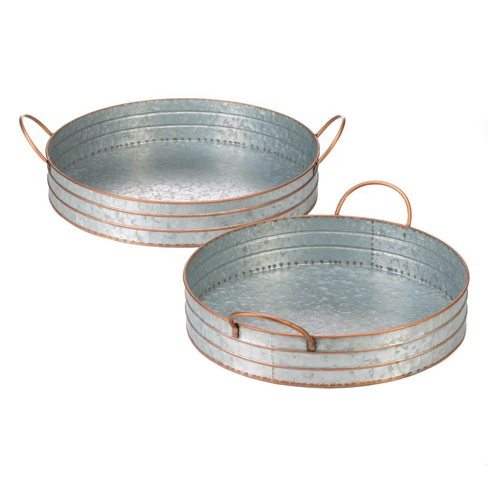 Set of 2 Round Galvanized Metal Trays