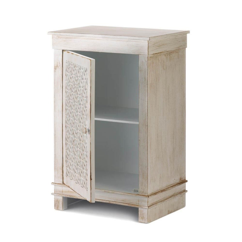 Lattice Antique White Night Stand Cabinet