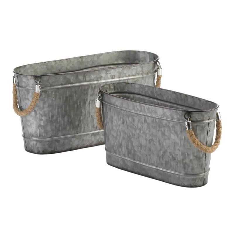 Garden Metal Bins, Set of 2,bucket,Adley & Company Inc.