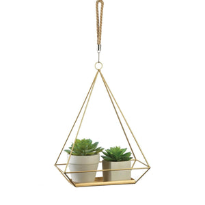 Gold Geometric Hanging Plant Holder,planter,Adley & Company Inc.