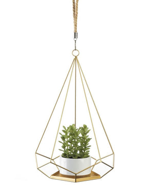 Gold Geometric Prism Hanging Plant Holder,planter,Adley & Company Inc.