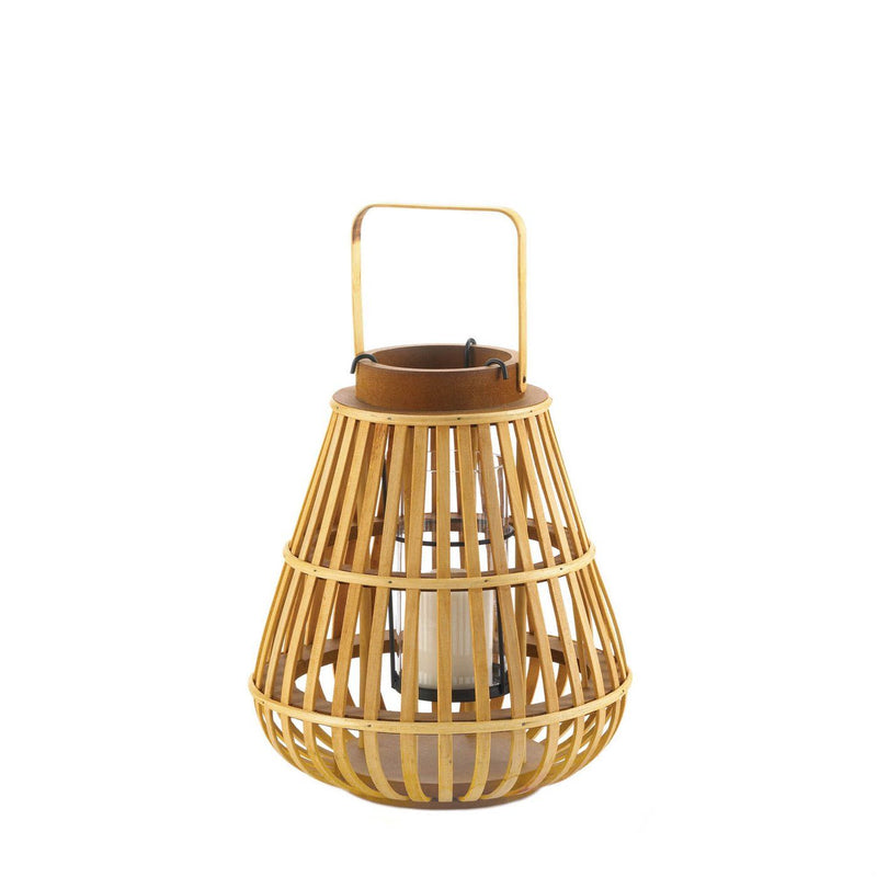 Bamboo and Wood Slatted Candle Lanterns,candle lantern,Adley & Company Inc.
