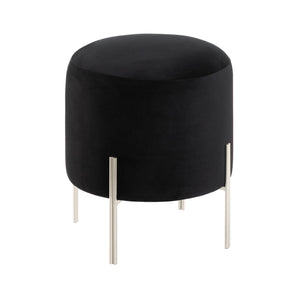 Black Velvet Cushioned Stool,stool,Adley & Company Inc.